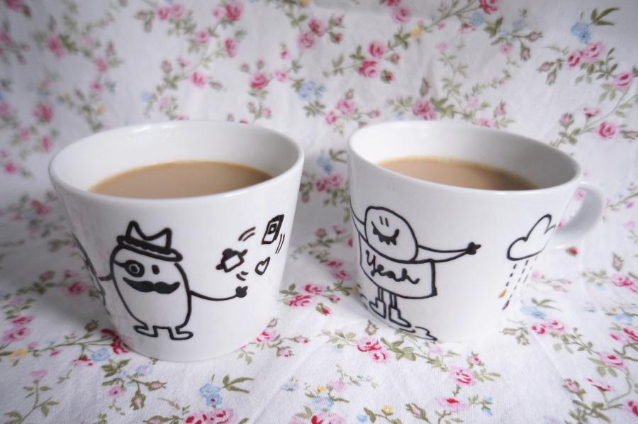 geschwister gezwitscher samstagskaffeekr nzchen mit bemalten tassen. Black Bedroom Furniture Sets. Home Design Ideas