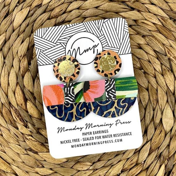 big and bold circular and semi-circular earrings on display card