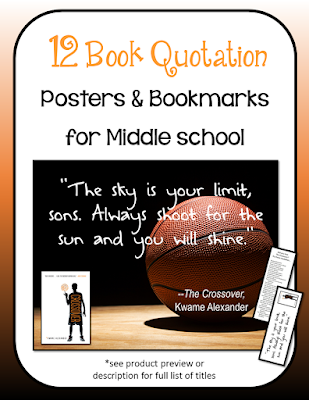 12 Middle School Book Quotation Posters with Coordinating Bookmarks