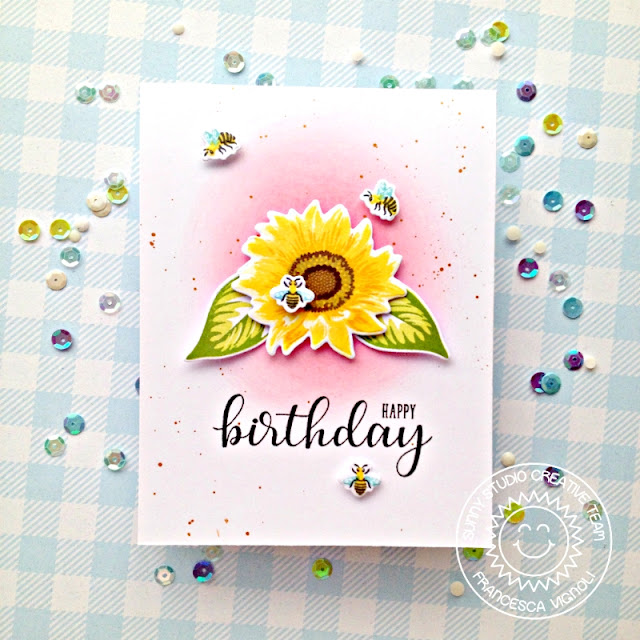 Sunny Studio Stamps: Sunflower Fields Birthday Balloons Happy Birthday Card by Franci Vignoli