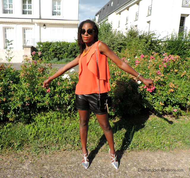 Lookbook | Faux Leather short x Orange Ruffles Lunettes Celine Satchel Valentino ballerines primark dorees