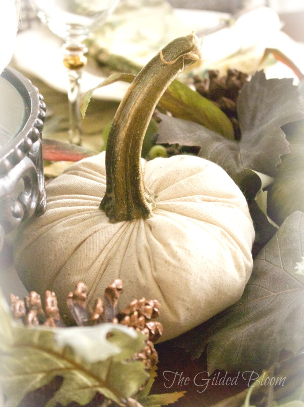 A Festive Fall Pumpkin Table-  Set an autumn table with cloth pumpkins!  www.gildedbloom.com  #tablesetting