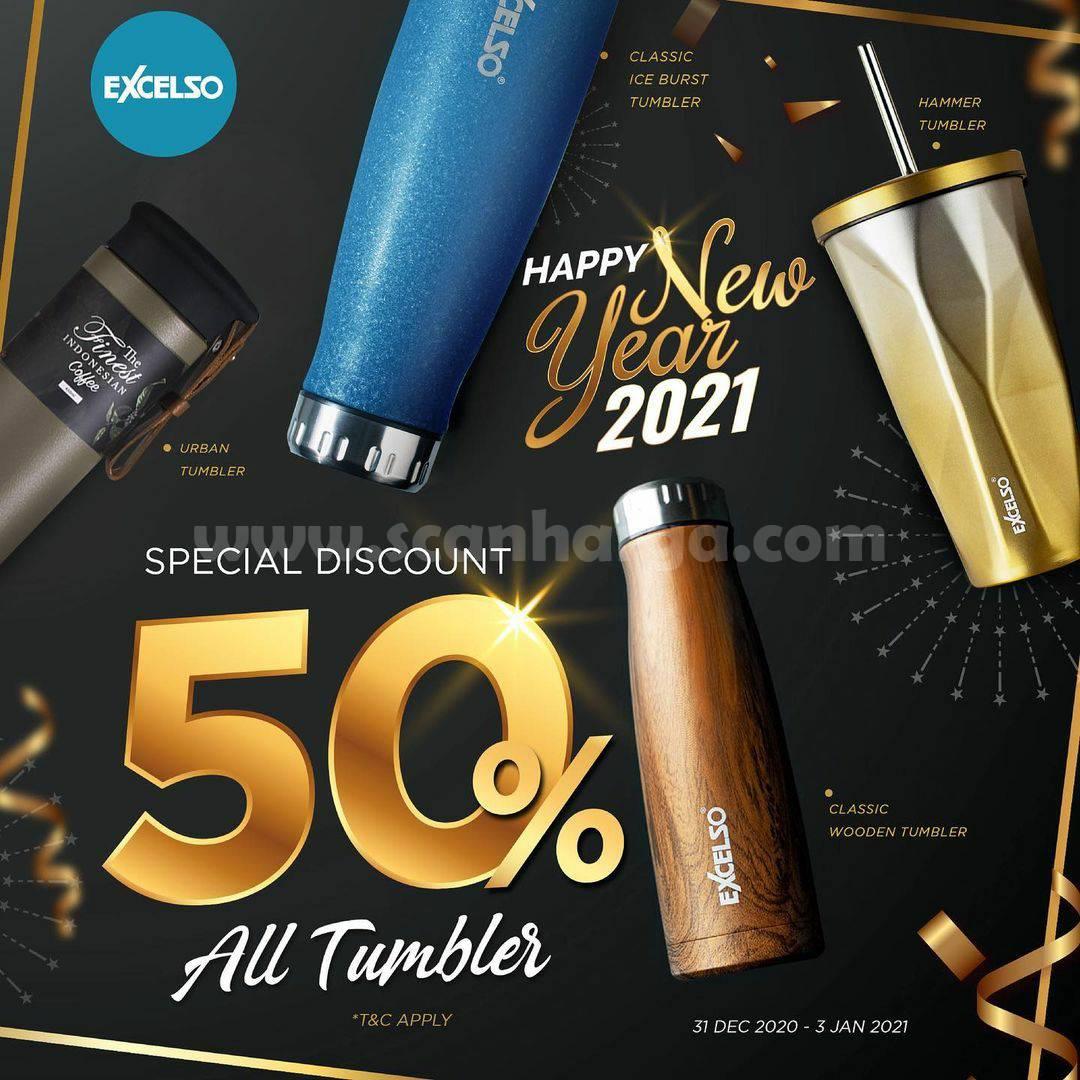 Promo EXCELSO Spesial Diskon 50% untuk pembelian Semua Tumbler