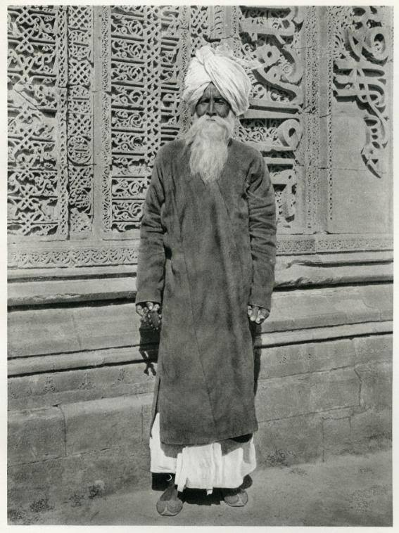 Portrait of a Fakir in front of the Adhai-din-ka-jhonpra Mosque at Ajmer, India - 1928