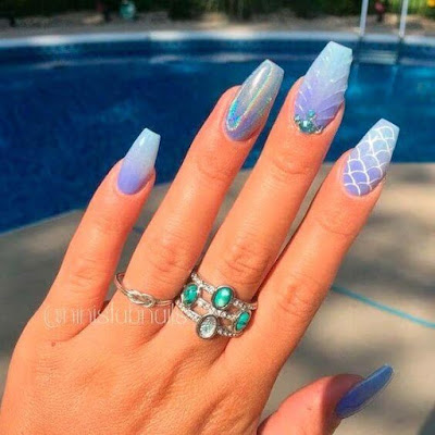 The most popular trend in the nails on this summer is Mermaid Nails ✘ 27+ Amazing Mermaid Inspired Nails Tutorial To Try On The Beach