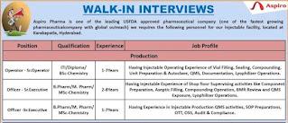 Aspiro Pharma Recruitment 2021 For ITI, Diploma,  B.Sc, M.Sc, B.Pharm, M.Pharm Candidates | Walk In Interview