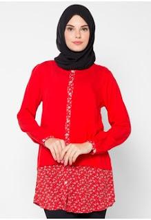 Model Batik Muslim Kerja Warna Merah