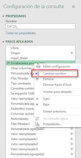 Power Query: Renombrar los pasos de la consulta