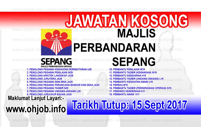 Jawatan Kerja Kosong MPSepang - Majlis Perbandaran Sepang logo www.ohjob.info september 2017