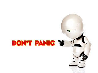 Marvin The Paranoid Android Don't Panic HD Wallpaper