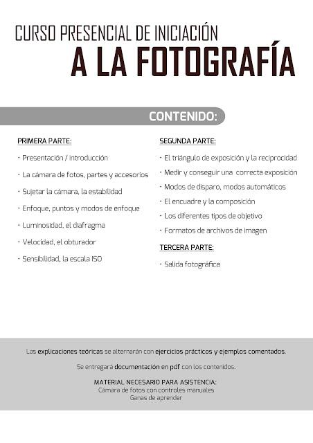 Curso presencial de Iniciación a la Fotografía, en Ceuta - CONTENIDOS