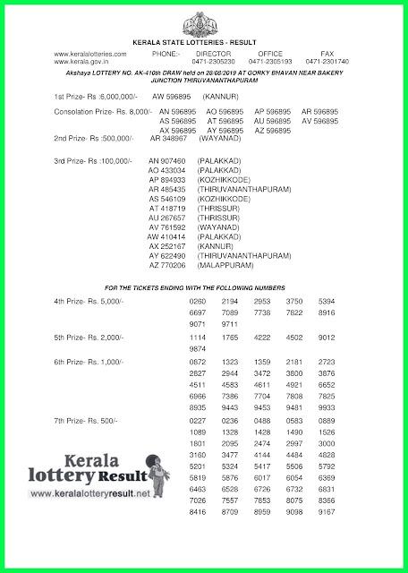 kerala lottery result 28-08-2019 Akshaya LOTTERY NO. AK-410th-