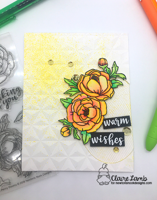Warm wishes by Claire features Peony Blooms and Winter Birds by Newton's Nook Designs; #newtonsnook, #inkypaws, #cardmaking