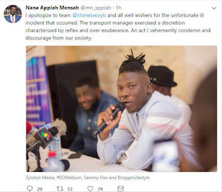 Zylofon Boss, Nana Appiah Mensah Has Apologized To Stonebwoy For The Attempted Robbery