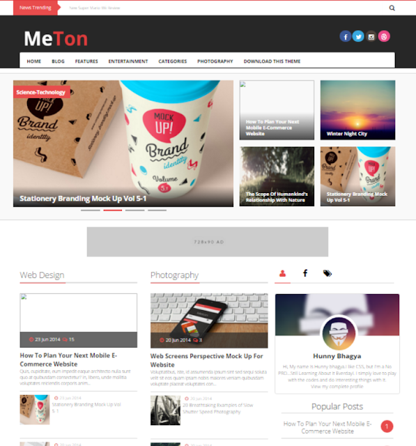 Meton - Personal Blogger Template