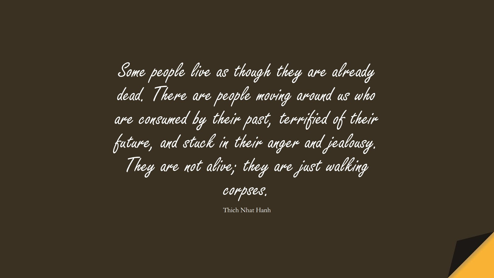 Some people live as though they are already dead. There are people moving around us who are consumed by their past, terrified of their future, and stuck in their anger and jealousy. They are not alive; they are just walking corpses. (Thich Nhat Hanh);  #StressQuotes