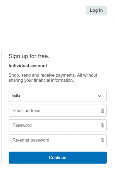 Step 3 Sign up an individual account