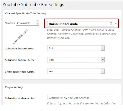 mengatur widget youtube subscribe bar