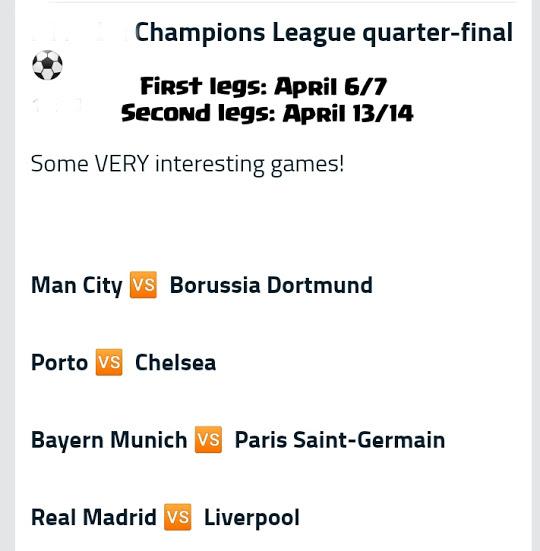 UEFA Champions League Quarter Final Draw
