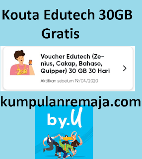 Reward Voucher Kouta Edutech 30 Gb Di Aplikasi By.U