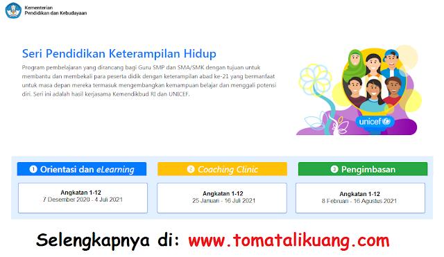 jadwal pendaftaran dan pelaksanaan program guru belajar kemendikbud seri pendidikan keterampilan hidup tahun 2021 tomatalikuang.com