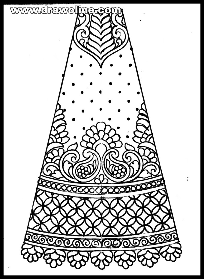 Lehenga sketch (With images) | lehenga fashion illustration | designer lehenga sketch of Embroidery | lehenga design drawing