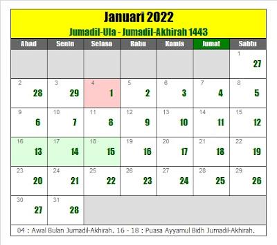 kalender islam hijriyah januari 2022 masehi - kanalmu