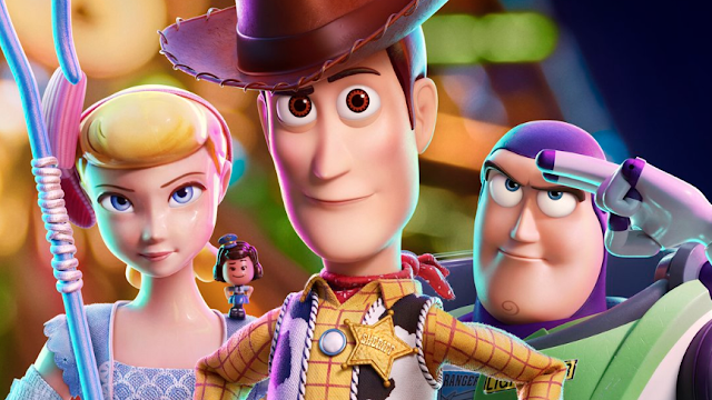 Bo Peep, Woody, Buzz Lightyear and Giggle McDimples in Toy Story 4 promo