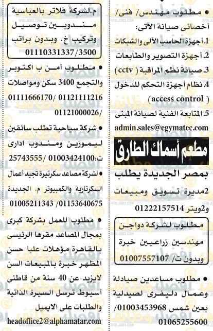 وظائف الاهرام الجمعه