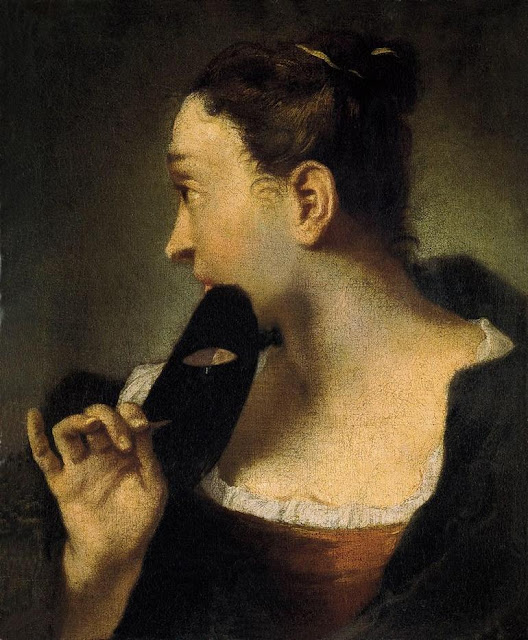 Portrait of a Young Woman in Profile with a Mask