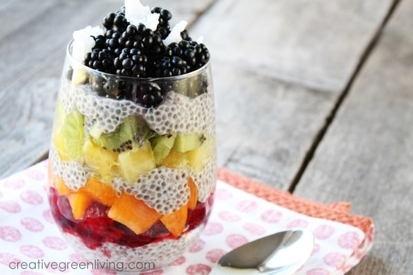 Delicious fresh fruit chia pudding -
