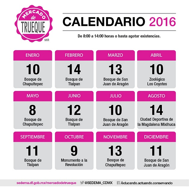 CDMX Mercado del Trueque en el Bosque de Aragón calendario