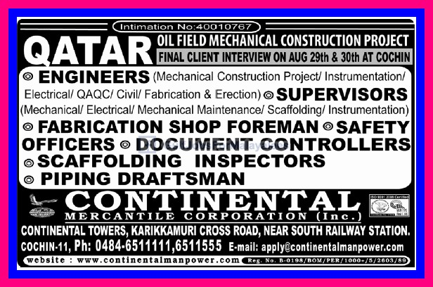 Oil Field Mechanical Construction Project Qatar - Gulf Jobs for Malayalees