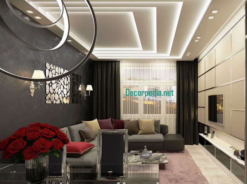 Pop False Ceiling Design For Living Room And Hall Led Lights