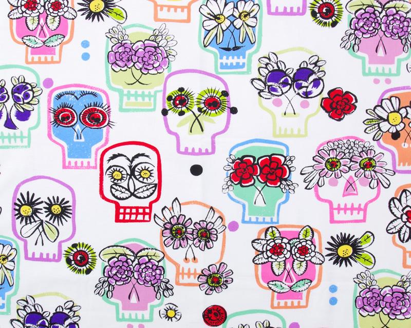 Flower Eyes in Natural by De Leon Design Group for Alexander Henry Fabrics