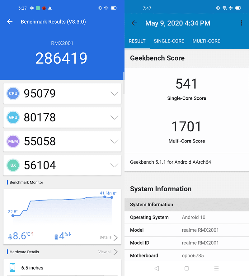 AnTuTu and GeekBench 5 scores
