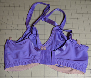 Lavender underwire bra (back view) on grid cutting mat