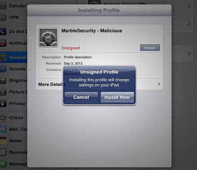 Figure 4. Screenshot of iOS allowing unsigned and unverified profile.