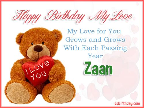 Zaan Happy Birthday My Love