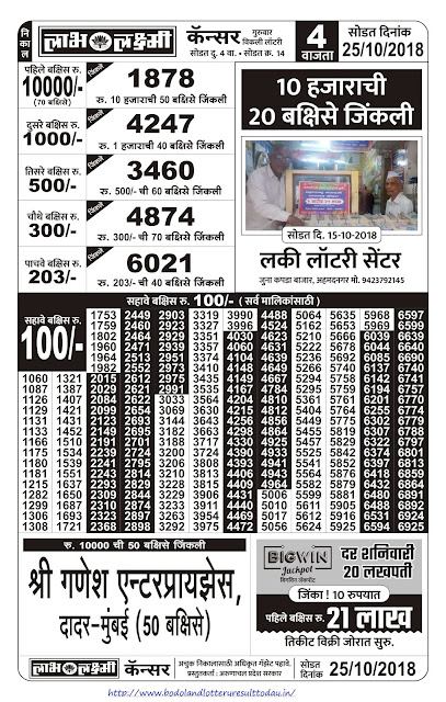Labh Laxmi Lottery Result Today - 25-10-2018