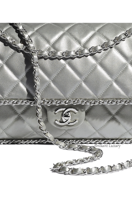 Chanel large silver metallic calfskin flap bag #brilliantluxury