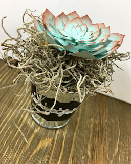 This succulent is made with Stampin' Up!'s Succulent Framelits Dies.  I used Pool Party cardstock and sponged Calypso Coral on the edges.  It's in a cute metal bucket with some moss.  This was a gift for the Weekend Getaway Retreat!  #stampinup #stamptherapist www.stampwithjennifer.blogspot.com