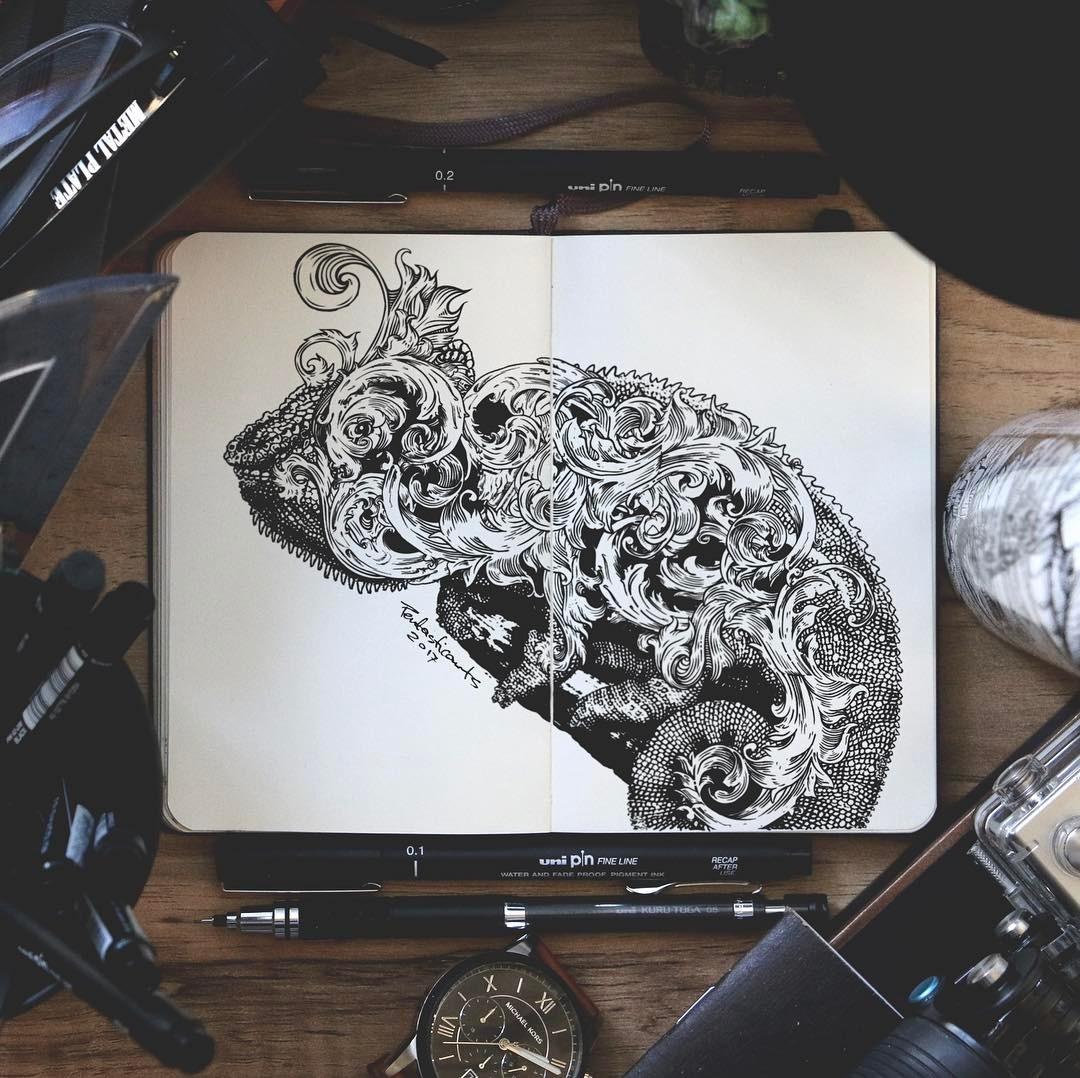 05-Chameleon-Joseph-Catimbang-Doodle-Drawings-make-the-World-go-Round-www-designstack-co