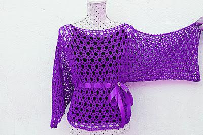 Blusa lila Majovel Crochet ganchillo 1