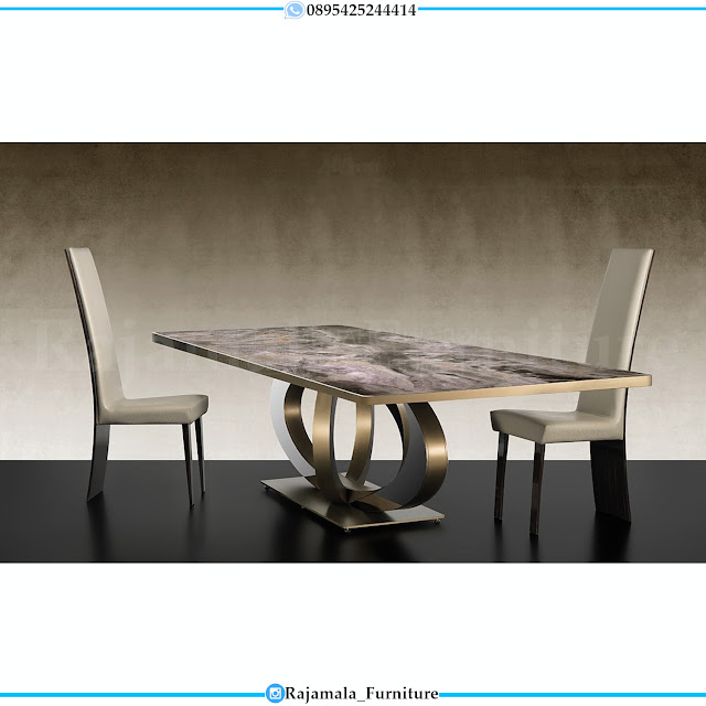 Desain Meja Makan Modern Minimalis Stainless Steel Golden Leaf RM-0311