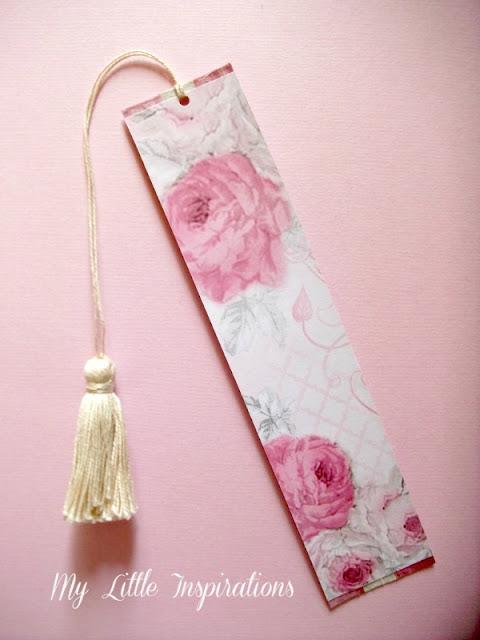 3 segnalibri DIY con nappine e materiali di riciclo - carta scrap con rose - MLI