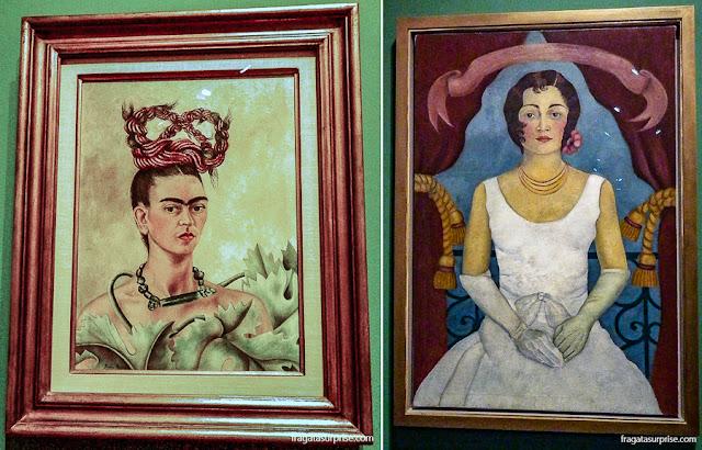 """Obras de Frida Kahlo: """"Retrato de uma mulher de Branco"""" (1929) e """"Autorretrato com Trança"""" (1941)"""