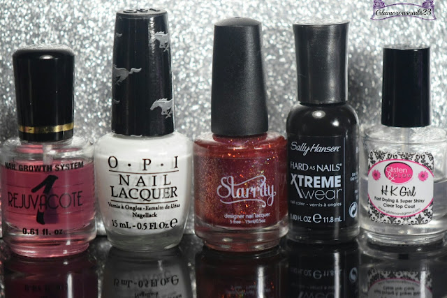 Duri Rejuvacote, O.P.I Angel With A Lead Foot, Starrily Poisoned Apple, Sally Hansen Xtreme Wear Black Out, Glisten & Glow HK Girl Fast Drying Top Coat