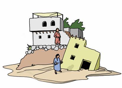 parabola casa sobre arena o roca