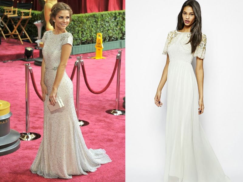 Maria Menounos, Maria Menounos Oscars 2014, Maria Menounos Alexander McQueen, Oscars 2014 red carpet, Oscars 2014 best dressed list, Steal red carpet style, celebrity look for less. Virgos Lounge Raina Maxi Dress with Embellished Shoulder